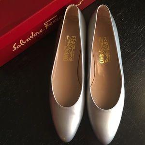 Ferragamo silver shoes